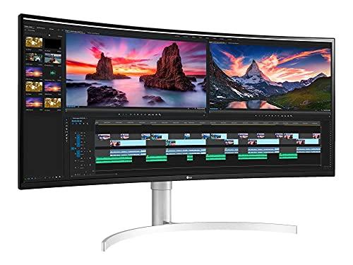 LG 38WN95C-W 95,29 cm (38 Zoll) Curved QHD+ UltraWide Monitor (AH-IPS-Panel, AMD FreeSync, HDR10), weiß silber