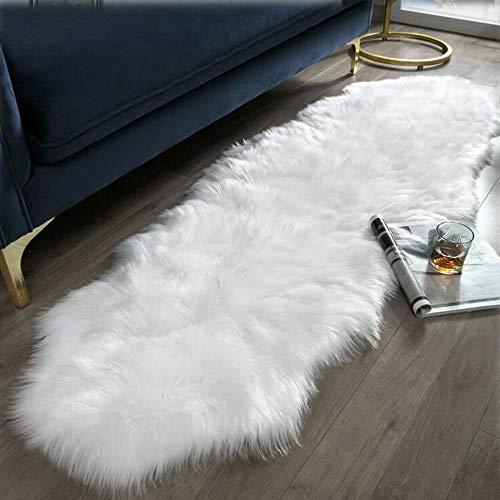 Topspitgo Alfombra de piel de oveja sintética muy suave, para dormitorio, salón, sofá, mesita de noche (blanco, 69,8 x 140 cm)