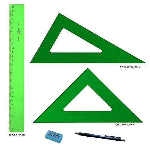 LOTE Faibo Técnico - Regla verde 30 Cm + Escuadra Verde 30 Cm + Cartabón 30 Cm + REGALO 1 Portaminas Edding P3 0,7mm 1 Goma de borrar Faber Castell Dust-Freeel
