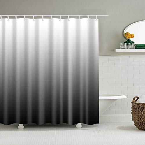 YISHU Farbverlauf Wasserdichter Duschvorhang Anti-Schimmel inkl. 12 Duschvorhangringe für Badezimmer 180x180/180x200 cm (240 * 200cm, schwarz)