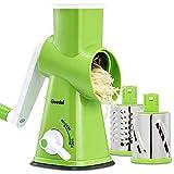 Rallador de Queso Rotativo, Cortadora de Verduras con 3 Cuchillas de Tambor, Molinillo de Queso Rotativo de Fácil Limpieza, Rallador de Cocina 12x Más Rápido para Verduras y Frutas