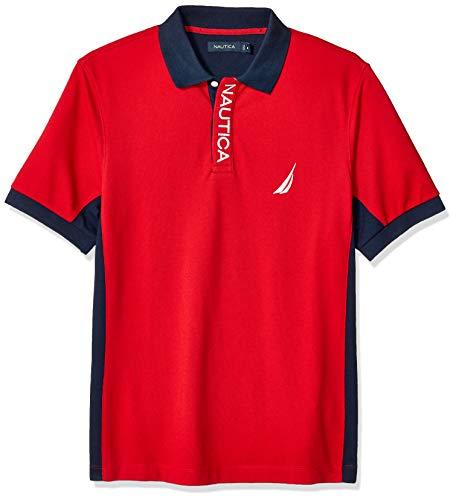 Nautica Men's Short Sleeve Color Block Performance Pique Polo Shirt, Red, Medium