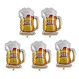 Amosfun Taza de cerveza globo dorado de aluminio Mylar helio globos para cumpleaños Oktoberfest Baby Shower decoración 5 piezas