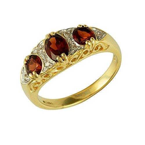 Bague - 181R0731-20 - Anillo de mujer de oro amarillo (9k) con 3 granates y diamantes (talla: 13)
