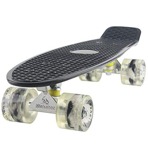 Yizhi Komplettes Mini Cruiser Skateboard 56 * 15 cm Retro Plastic Skateboard Für Erwachsene Kinder Anfänger Mädchen Jungen