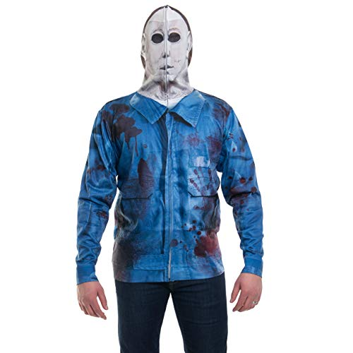 Faux Real Men's Sublimated Faux Full Zip Mask Hoodie, Mike Myers, Small