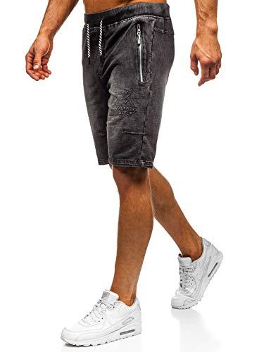 BOLF Herren Kurzhose Jeanshose Sporthose Casual Short Hose Nature 5784 Schwarz 3XL [7G7]