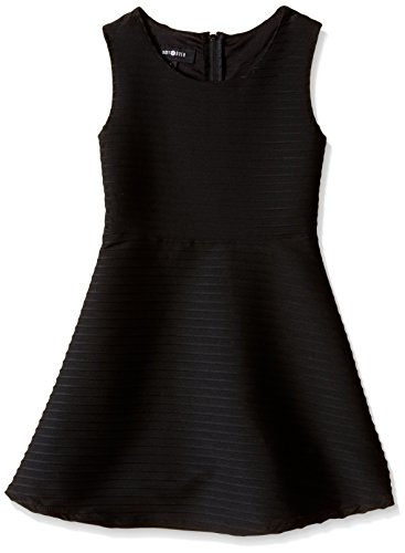 Amy Byer Girls' Big Picture and Flare Textured Knit Dress, Black, 7