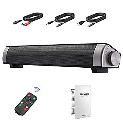 "Soundbar Speaker, CestMall Dual Subwoofer PC Soundbar, Portable & USB Powered Mini TV Soundbar Wired/Wireless Bluetooth Sound Bars, 3D Surround Sound, Built-in Microphone (15.7""L x 2.4""D x 2.2""H) from CestMall"