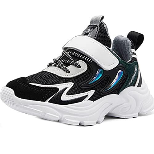ZOSYNS Zapatillas de correr para niña, para primavera, verano, deporte, para exteriores, planas, para el tiempo libre, tallas 32-37, color Negro, talla 35 EU