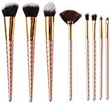Juego de 8 brochas de maquillaje HK profesionales para arte cosmético, color oro rosa