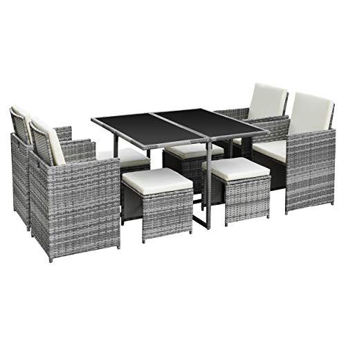 Ribelli 9-teiliges Gartenmöbel Set, Lounge Set, cremefarbenen Kissen – aus PE-Rattan – Tisch Plus Vier Stühle und 4 Fußhocker – praktisch zu verstauen (9tlg. grau/Cream)