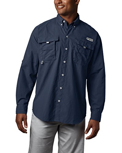 Columbia Men's Bahama II Long Sleeve Shirt, Large, Collegiate Navy