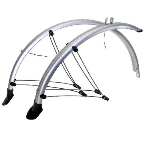 26 Zoll Fahrrad Schutzblech Set Silber mit Kontaktstreifen NEU