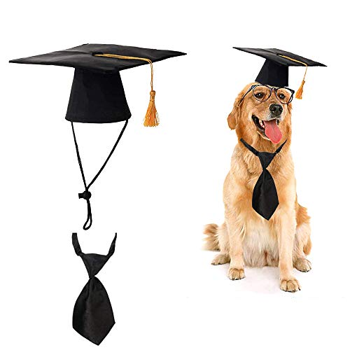 MASCARE Pet Graduation Caps with Yellow Tassel & Black Tie,Graduation Hat Party Costume for Dog Cat