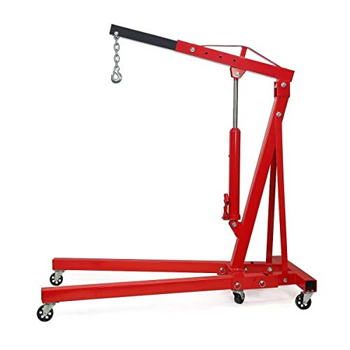 4000 LBS Engine Motor Hoist, Cherry Garage Lifting Picker Crane, 2 Ton Capacity with 360º Swiveling Wheels and Heavy Gauge Structural Steel, Adjustable Positions and Easy Storage