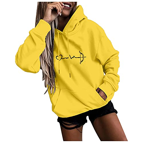 Sudadera con capucha para mujer, diseo de amor, manga larga, talla grande, sudadera con capucha, forro polar, interior para nias, ropa de estilo urbano, amarillo, M