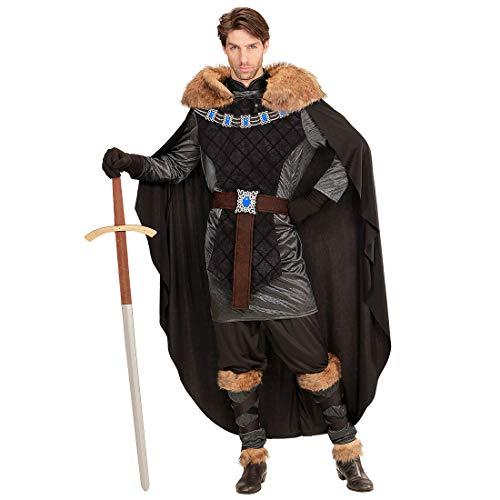 NET TOYS Disfraz Edad Media prncipe con Capa de Piel - Negro-Gris M (ES 50) - Outfit Hombre Jon Snow - El Centro de Las miradas para Fiestas temticas y Fiesta de Disfraces