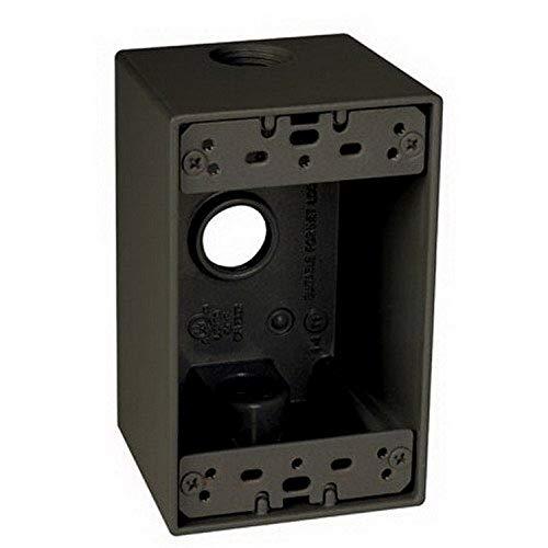 TayMac SD350Z Weatherproof Box, 1-Gang, (3) 1/2-Inch Outlets, Deep, Bronze