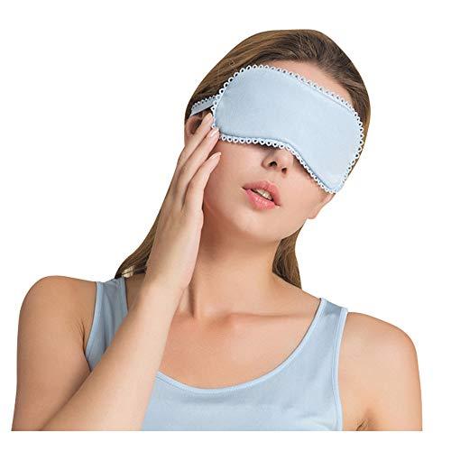 UK_Stone Schlafmaske Damen 100% Hautfreundlich Seide Augenmaske Unifarbe Premium Schlafbrille Weich und Bequem Nachtmaske mit Gummiband Reise und Zuhause Geeignet, Himmelblau