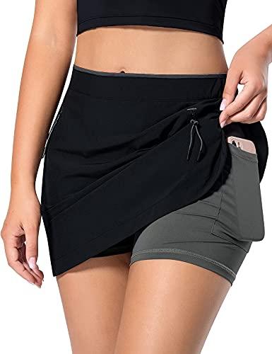MOVE BEYOND Faldas Pantalón de Tenis para Mujer con 3 Bolsillos Falda Deportiva Ligera con Pantalón Corto Incorporado para Golf Correr Entrenamiento, Negro y Gris ClaroL
