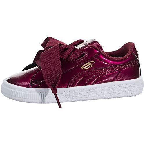 PUMA Girls' Basket Heart Glam Kids Sneaker, Tibetan Red, 11.5 M US Little