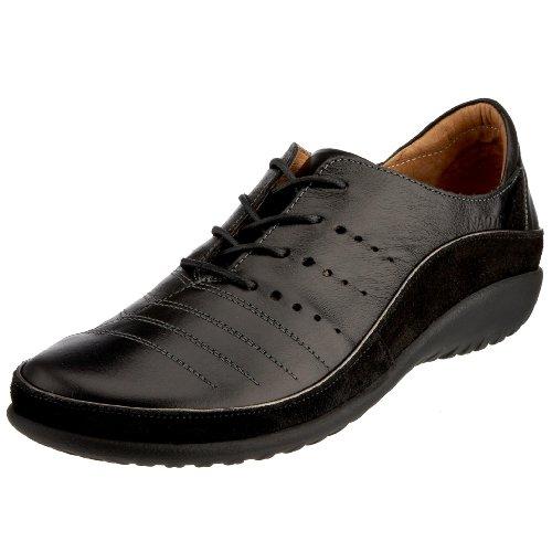 NAOT Footwear Women's Kumara Lace-up Shoe Black Madras Lthr/Black Suede 8 M US