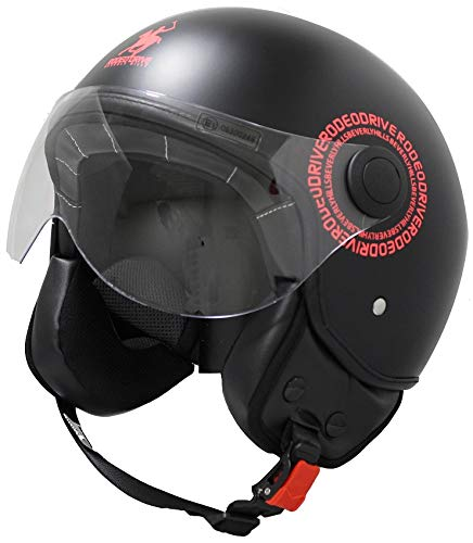 Rodeo Drive RD104N Plus - Casco para scooter demi jet, color negro mate, talla grande