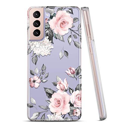 RXKEJI Galaxy S21 Case Clear Cute Girls Women Floral Design Slim Flexible TPU Bumper Hard Back Cover Protective Phone Case for Samsung Galaxy S21 5G 6.2 inch 2021 Flower Rose Pink