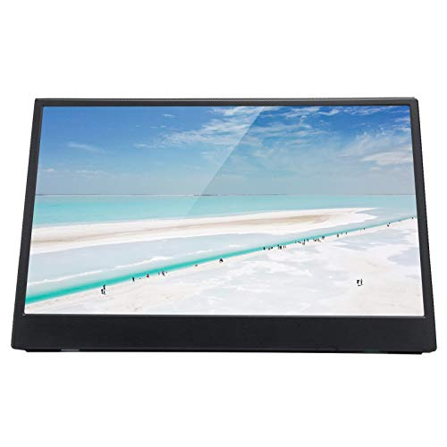 214 Pantalla de Monitor, Pantalla de visualización de Monitor IPS HD 1080P ultradelgada portátil de 13,3 Pulgadas con Soporte magnético, Compatible con Mini HDMI/Auriculares de 3,5 mm/Type-C