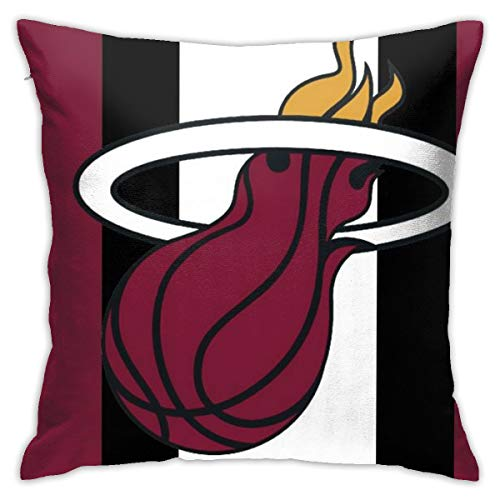 Franklin Sports Miami Heat Soft Cushion Covers,Comfortable Decorative Square Throw Pillow Covers for Sofa Bedroom 18 X 18 Inch