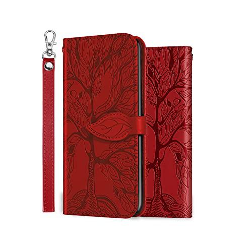 ONETHEFUL Handyhülle Tasche Book Cover für iPhone 7/ iPhone 8 Hülle Kunstleder Klappbar Flip Phone Hülle Brieftasche Huelle Etui mit Ständer rot
