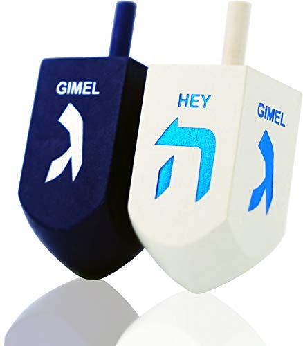 Lets Play Dreidel The Hanukkah Game Extra Large Blue & White Wood Dreidels - Instructions Included! - D10 (2-Pack XL Dreidels)