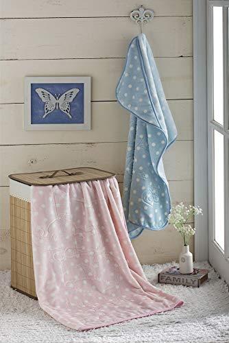Cobertor Baby em Relevo Estampado com Capuz Poás Branco, Jolitex, 100% Poliéster, Rosa, Infantil