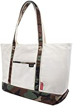 Rough Enough Large Utility Canvas Camo Tote Bag for Women Men with Zipper Pockets and Compartments