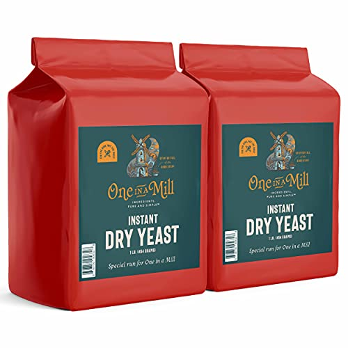 One In a Mill Active Dry Yeast 16oz Bulk Box (2 Pack 32oz) One in a Mill Instant Dry Yeast | Fast Acting Self Rising Yeast for Baking Bread, Cake, Pizza Dough Crust | Kosher