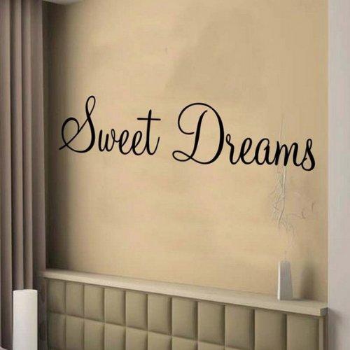 Windsor Designers Wandtattoo–Sweet Dreams Wanddekoration Wandbild Schlafzimmer Lounge Küche MON1, Grau, S (60 x 30 cm)