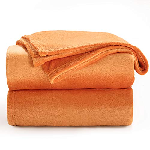 Bedsure Manta para Sofás de Franela 130x150cm - Manta para Cama 90 Reversible de 100% Microfibre Extra Suave - Manta Naranja Transpirable