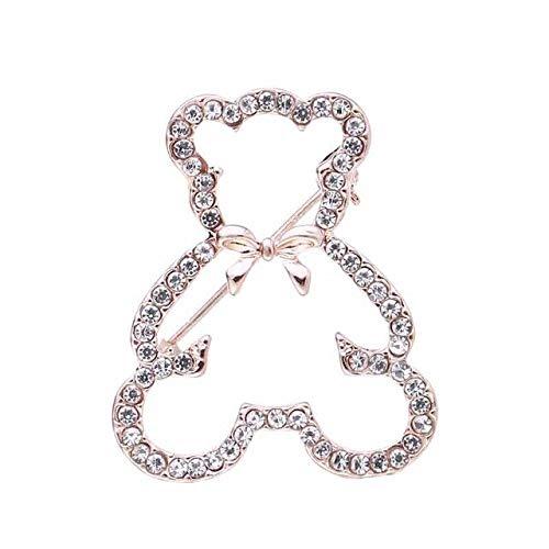 Classical Cute Teddy Bear Rhinestones Bowknot Decoration Animal Brooches for Women Pins Crystal Polar Bear Brooch