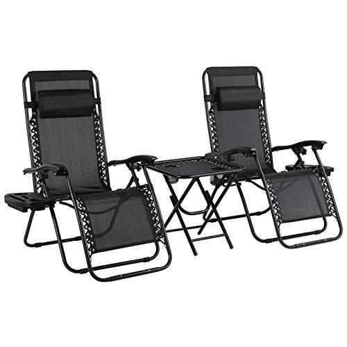 3-teiliges Liegestuhl Set mit Beistelltisch, Getränkehalter, klappbare ergonomische atmungsaktive Sonneliege mit verstellbarem Kopfpolster, Stuhl von Stahlrahmen, Schwarz
