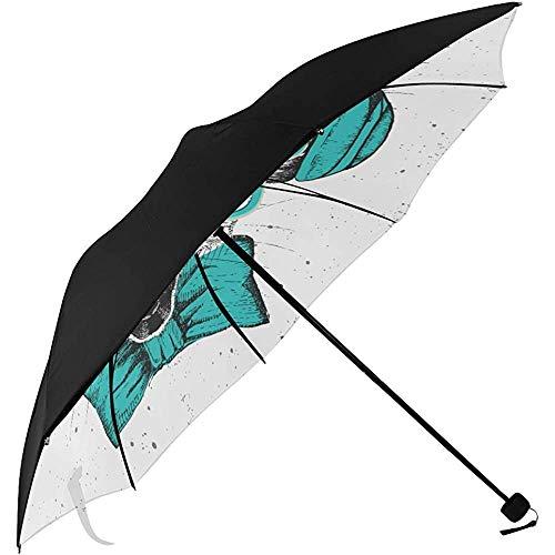 Regenschirm Reise Hipster Tier Lemur Hand Zeichnung Schnauze Unterseite Faltbare Regenschirme Winziger Reiseschirm Sonnenschirm Für Kinderwagen