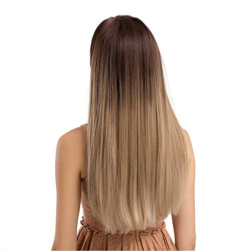 Perruque Longue Perruque Synthétique Blonde Ombre Blonde Droite,20 Pouces, pour Les Femmes pour Cosplay Quotidienne Parti Perruque Naturel comme De Vrais Cheveux