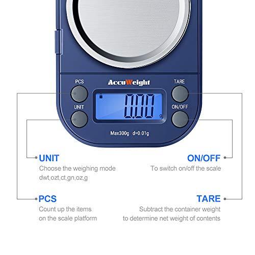 ACCUWEIGHT 255 Mini Bilancia di Precisione Digitale per Cucina 300g//0.01g