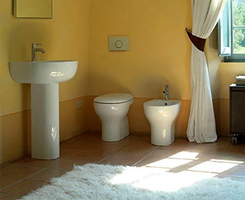 Sanitari badkuipvaas Muro, bidet en wastafel met zuilen, potdeksel, Grace Globo keramiek wit