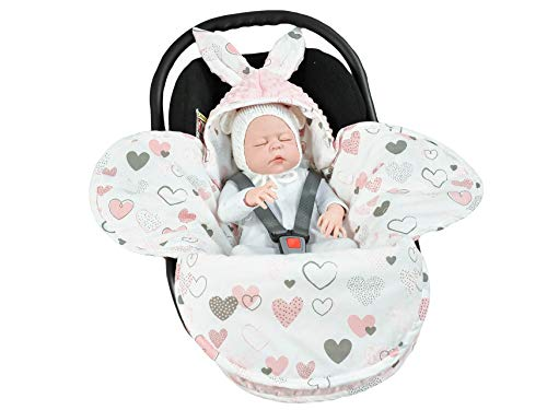 EliMeli Baby Einschlagdecke Babyschale Winter - Rosa Mädchen Decke Universal für Autositz, Kinderwagen Buggys und Babybett, Premium Qualität - Design Minky (Pink - Hearts)
