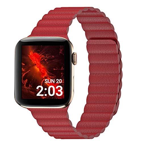 Compatible con Apple Watch Band 44 mm, 42 mm, 40 mm, 38 mm, correa de piel ajustable mejorada con sistema de cierre magnético para iWatch Series 5/4/3/2/1, 40MM/38MM, Rubí