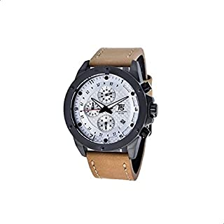 T5 H3516G-E Leather Round Analog Watch for Men - Brown