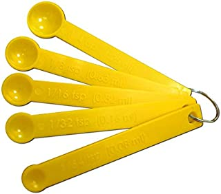 Mini Measuring Spoons - Set of 5 plastic for Dry and Liquid Ingredients - 1/64, 1/32, 1/16, 1/8 and 1/4 Teaspoon