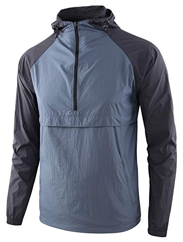 KNQR Men's Lightweight Zip Waterproof Anorak Windbreaker Jackets Active Hoodies Vintage Blue/Charcoal XL