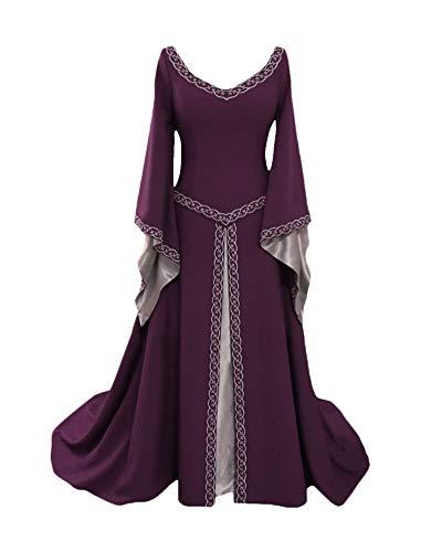 PengGengA Damen Prinzessin Stickerei Kleid Mit Hohem Rundhalsausschnitt Langarm Mittelalter Sling Kleid-Gothic Viktorianischen Königin Kostüm Bodenlänge Violett L